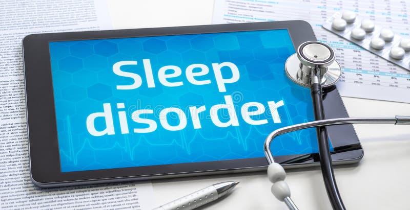 Le mot Trouble du sommeil sur l'affichage d'une tablette image libre de droits