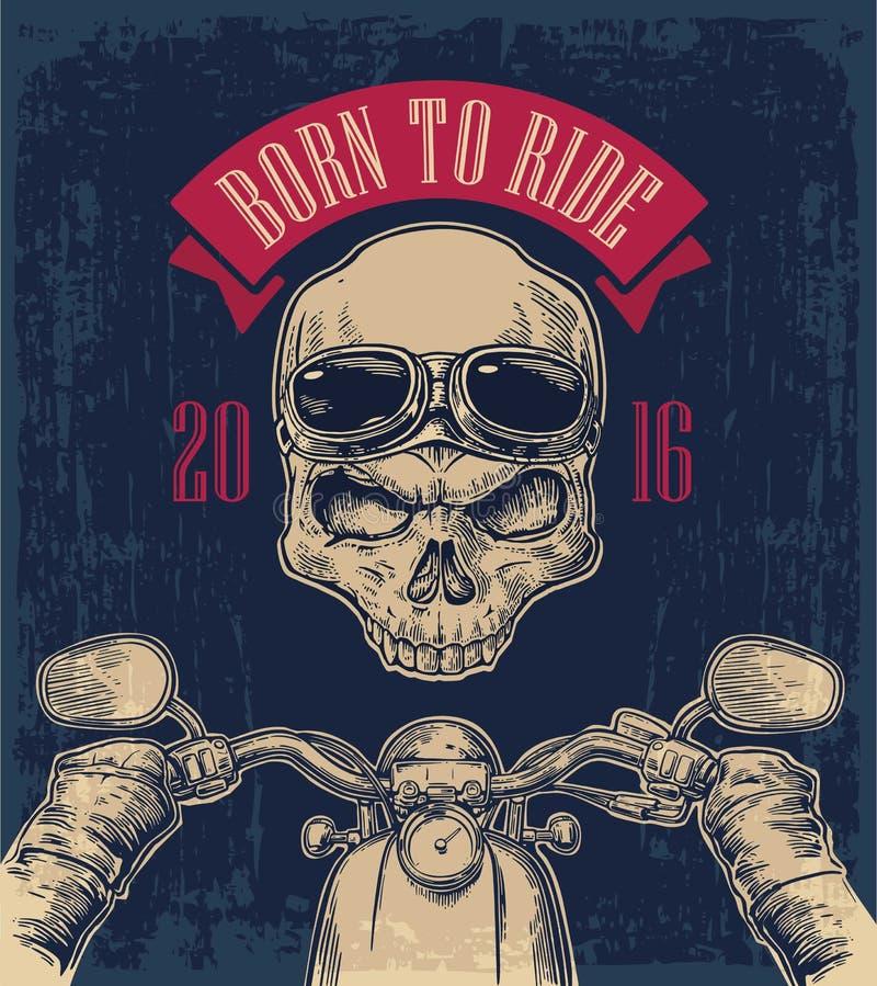 Le motard conduisant une moto monte et crâne avec des verres illustration de vecteur