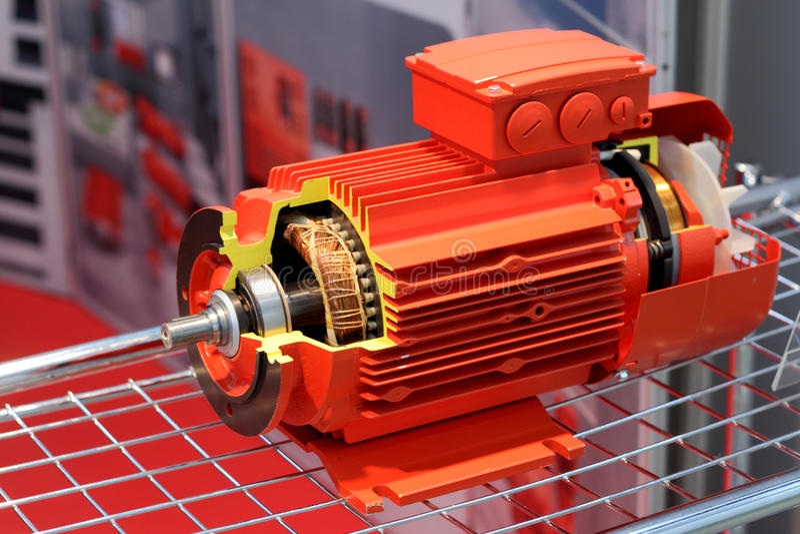 Le moteur électrique rouge photographie stock libre de droits