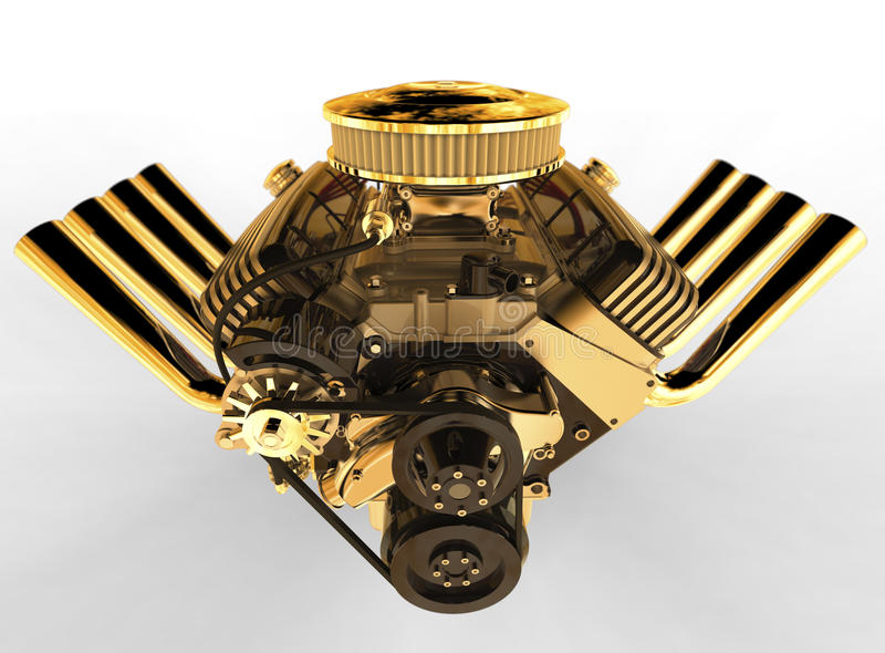 Le moteur 3D de V8 de hot rod rendent illustration libre de droits