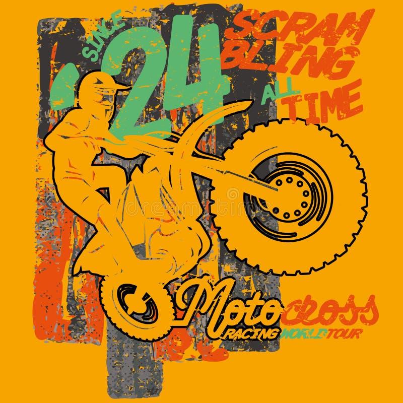 Le motocycliste sautant avec la motocyclette sur le fond balayé, image de vecteur illustration stock