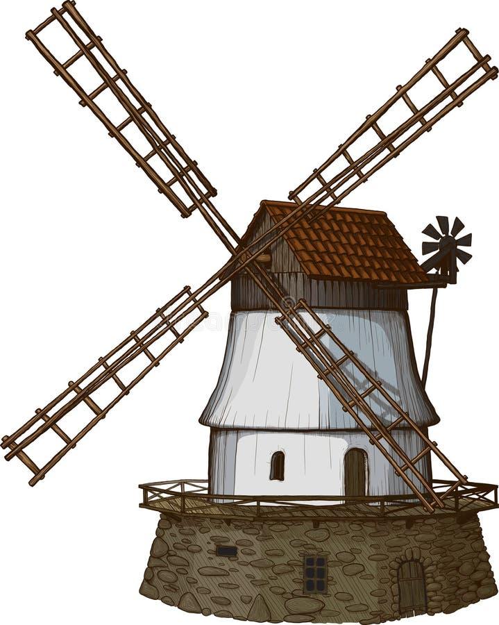 Le moulin à vent dessiné dans une gravure sur bois aiment la méthode illustration stock