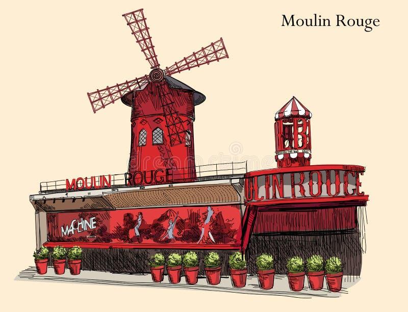 Le Moulin rouge coloré illustration de vecteur