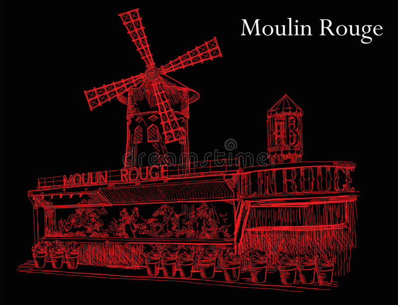 Le Moulin rouge dans des couleurs rouges sur le fond noir illustration libre de droits