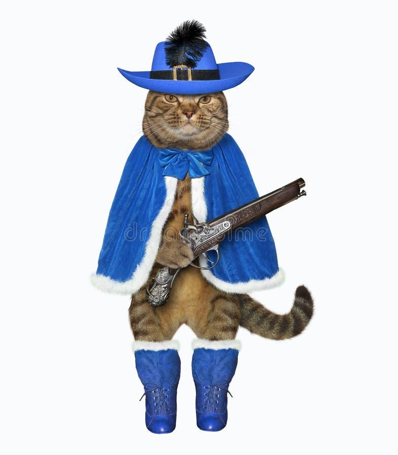 Le mousquetaire de chat tient un pistolet illustration de vecteur