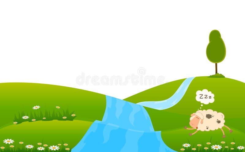 Le mouton de dessin animé dort sur une herbe illustration libre de droits