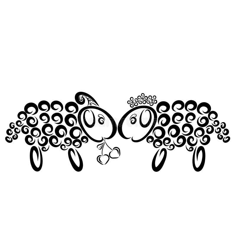 Le mouton drôle, garçon donne à une fille une cerise en forme de coeur illustration stock