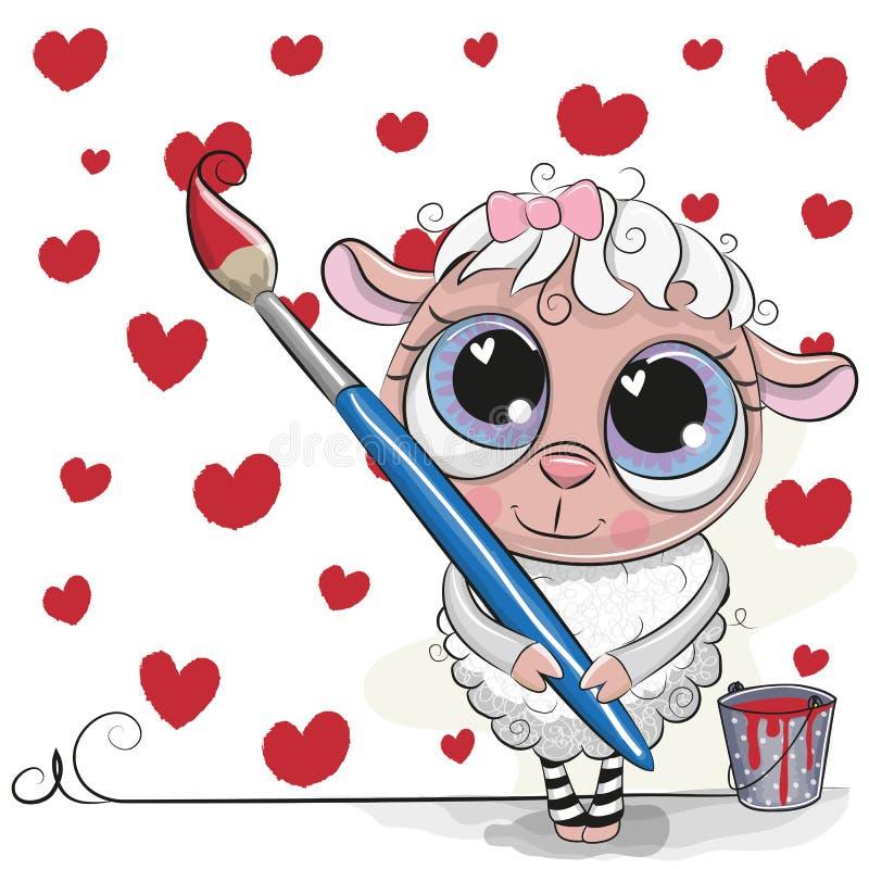 Le mouton mignon avec la brosse est dessin des coeurs illustration de vecteur
