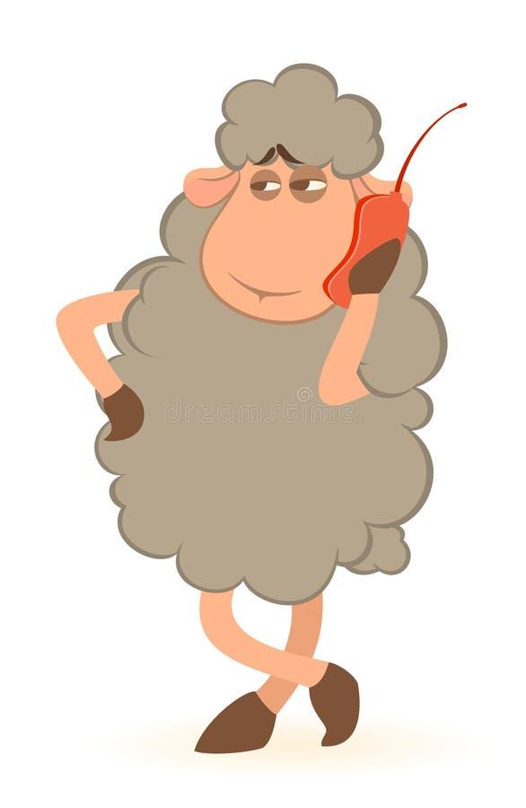 Le mouton parle par le téléphone illustration de vecteur