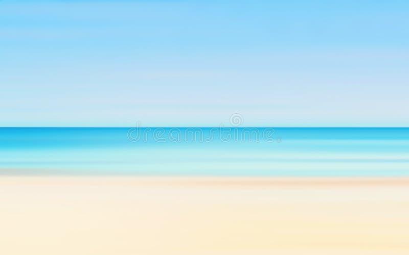 Le mouvement abstrait a brouillé le fond de paysage marin de l'été Sunny Beach photographie stock