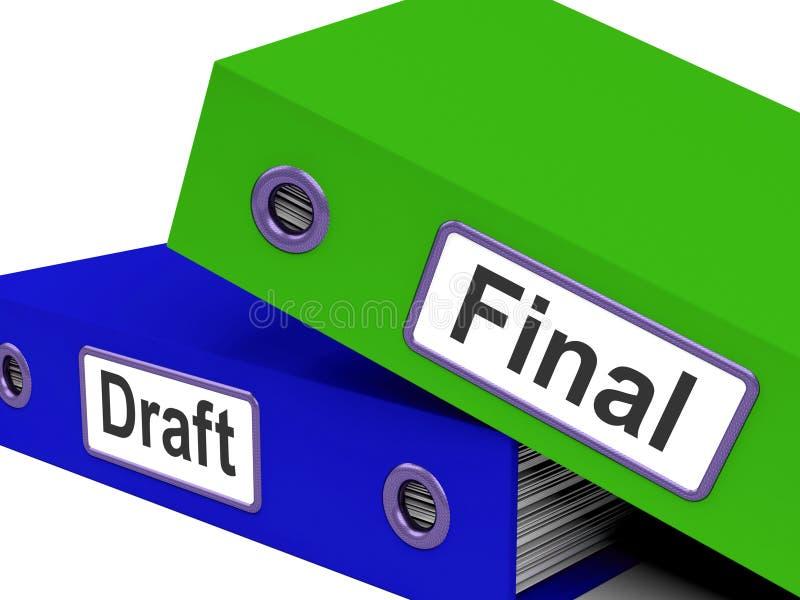 Le moyen de dossiers de version finale éditent et récrivent le document illustration libre de droits