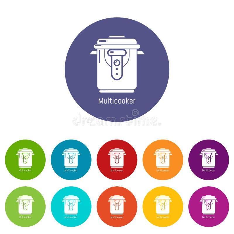 Le multi icone del fornello hanno fissato il colore di vettore illustrazione di stock
