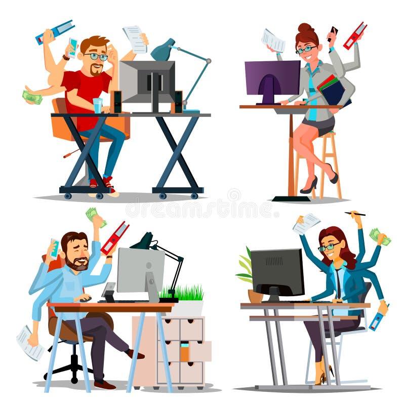 Le multiple charge le vecteur de concept d'affaires Placez la personne Beaucoup de mains faisant des tâches Métier professionnel  illustration libre de droits
