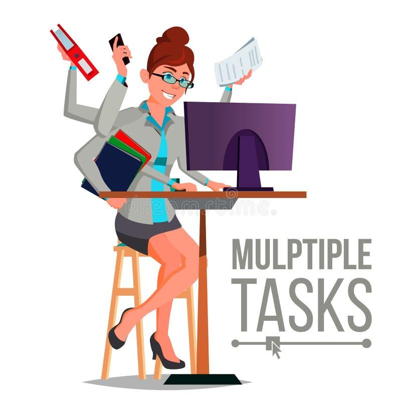Le multiple charge le vecteur de femme d'affaires Beaucoup de mains faisant des tâches Métier professionnel Illustration plate de illustration libre de droits