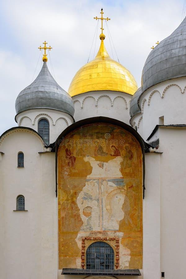 Le mur de la cathédrale de St Sophia avec le fresque antique dans V photographie stock