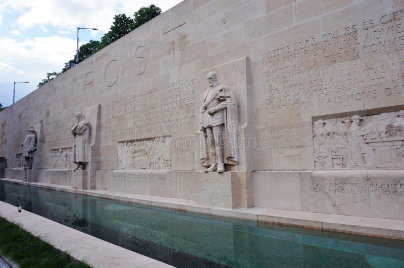 Le mur de réforme à Genève, Suisse images libres de droits