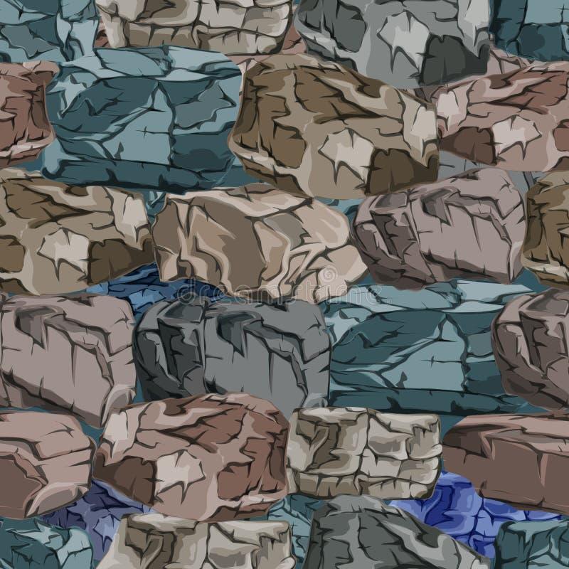 Le mur est fait de blocs en pierre Fond en pierre illustration stock