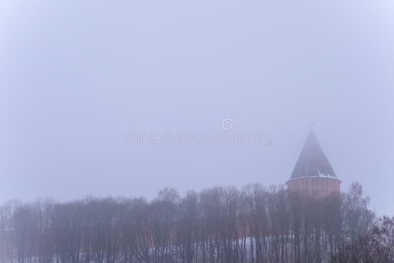 Le mur est vu par un brouillard d'hiver photos libres de droits