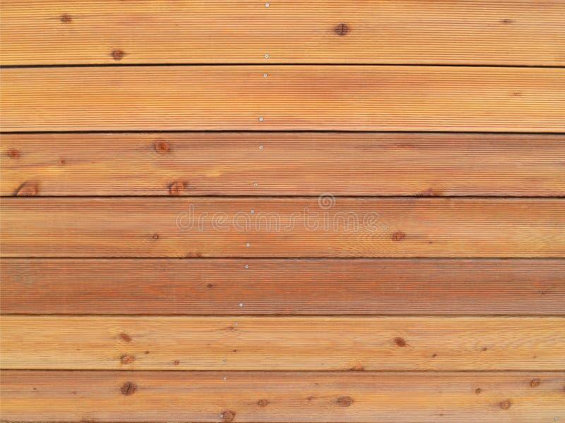 Le mur a garni des panneaux en bois à nervures de couleur brun clair, plein cadre images libres de droits