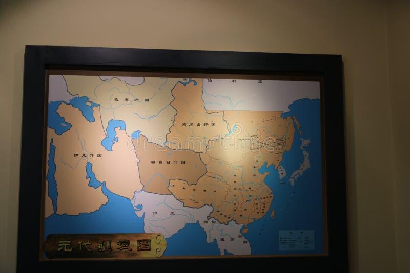 Le musée de culture de Hongshan dessine une carte du Chinois Yuan Dynasty basé sur les disques historiques photos stock