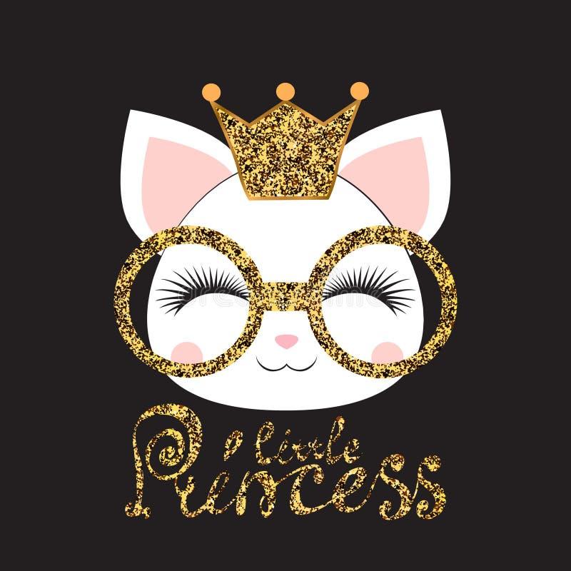 Le museau d'une fille de chaton avec une couronne et des verres d'or avec une inscription une peu de princesse sur le fond noir p illustration de vecteur
