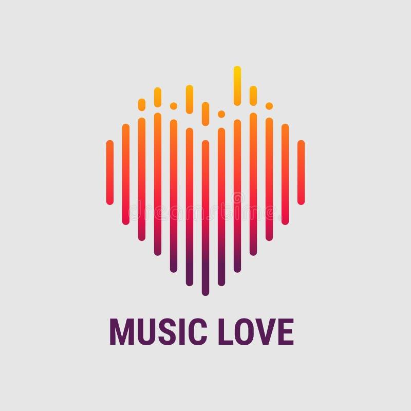Le musical ondule sous forme de coeur Calibre de logo Égaliseur musical Illustration de vecteur illustration stock
