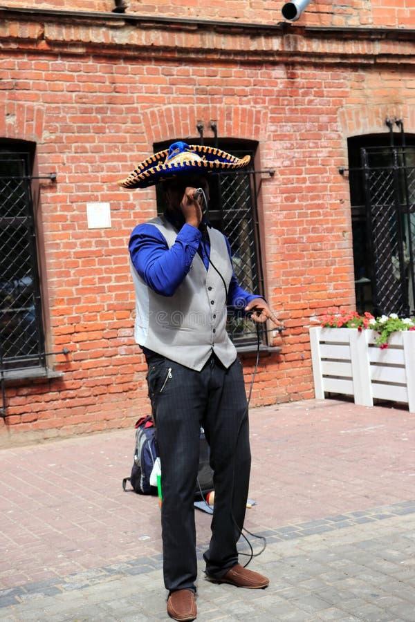 Le musicien de rue exécute sur le trottoir image libre de droits