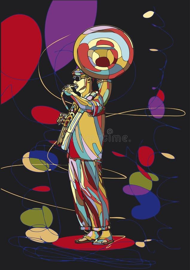 Le musicien de rue joue l'instrument de vent en laiton illustration libre de droits