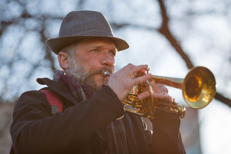 Le musicien de rue joue la musique image libre de droits