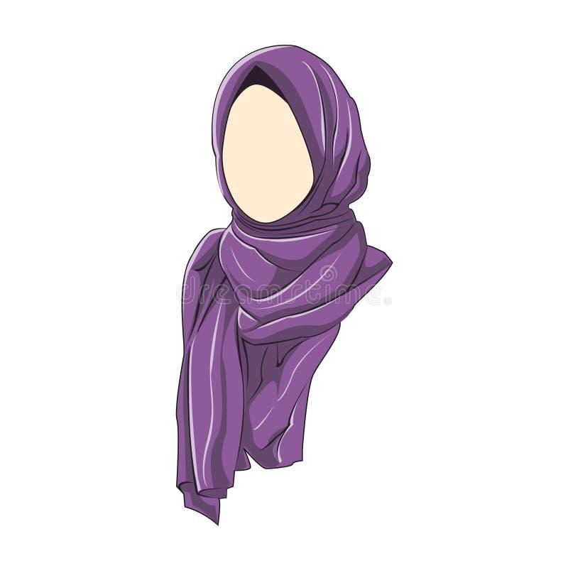 Le muslimah de Hijab dirigent la couleur pourpre illustration de vecteur