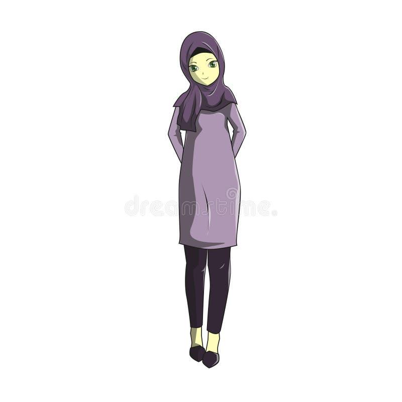 Le muslimah de Manga Hijab dirigent pourpre illustration de vecteur