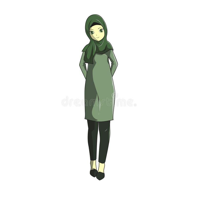 Le muslimah de Manga Hijab dirigent vert illustration de vecteur