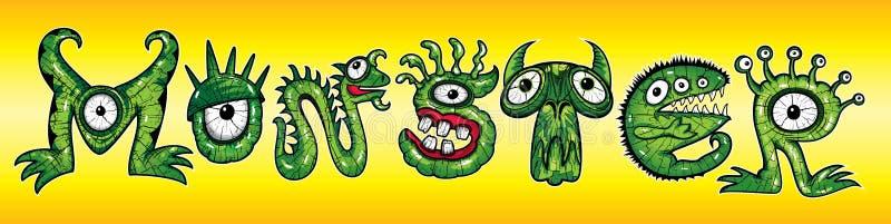 Le mutant vert de monstre de bande dessinée marque avec des lettres des illustrations illustration libre de droits