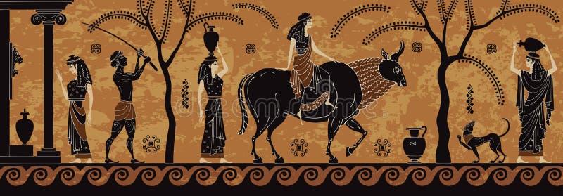 Le mythe antique sceen, poterie noire de figure Treft de l'Europe zeus illustration stock