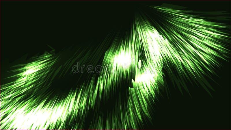 Le néon brillant lumineux brillant lumineux magique cosmique vert abstrait de texture raye des bandes de vagues de spirales des f illustration stock