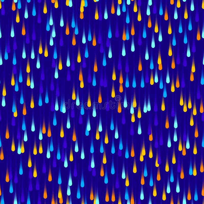 Le néon a coloré des baisses sur le fond bleu-foncé, modèle sans couture de vecteur illustration libre de droits