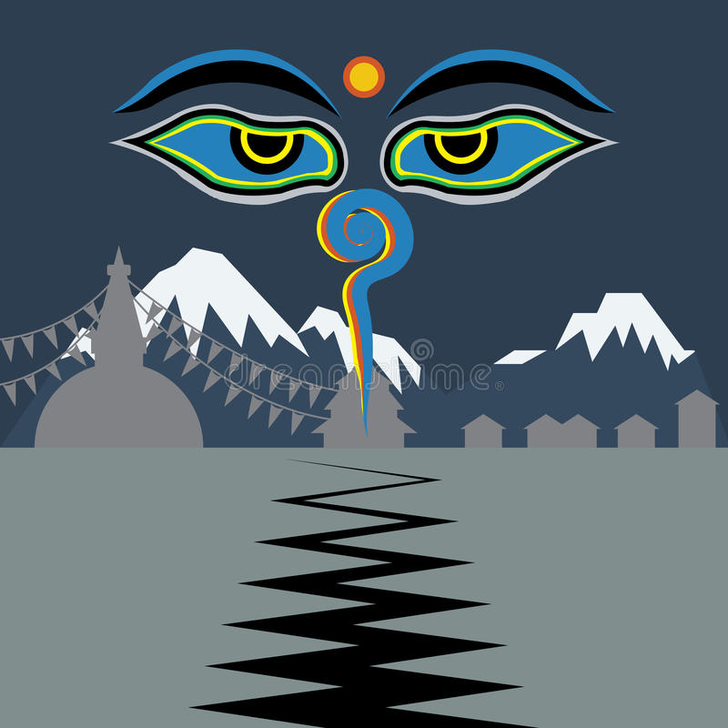 Le Népal faisant face au tremblement de terre avec des yeux de Bouddha illustration stock