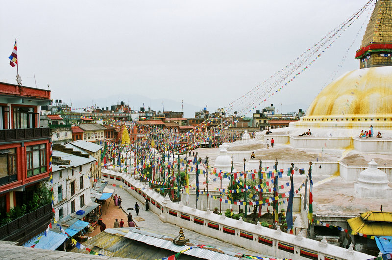 Le Népal, stupa Bodhath. photographie stock