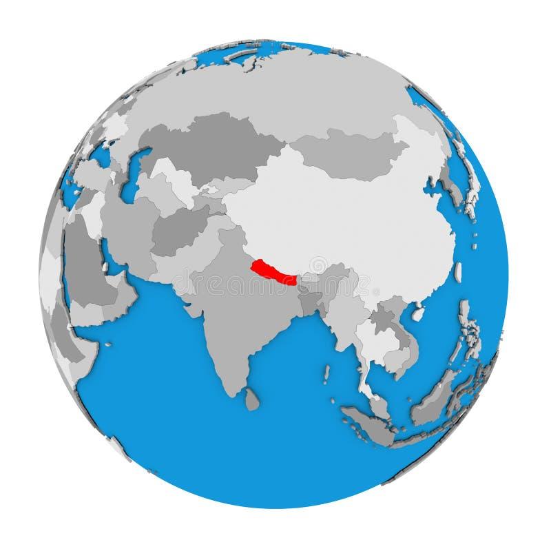 Le Népal sur le globe illustration stock