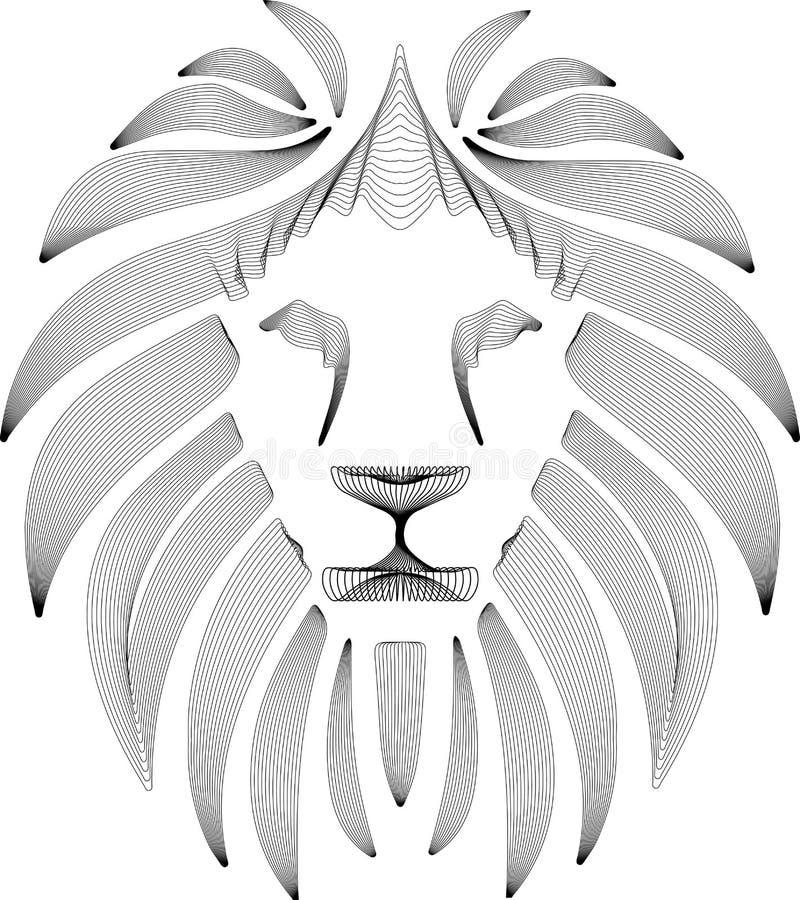 Le?n estilizado linear Gr?fico blanco y negro El ejemplo del vector se puede utilizar como diseño para el tatuaje, camiseta, bols ilustración del vector