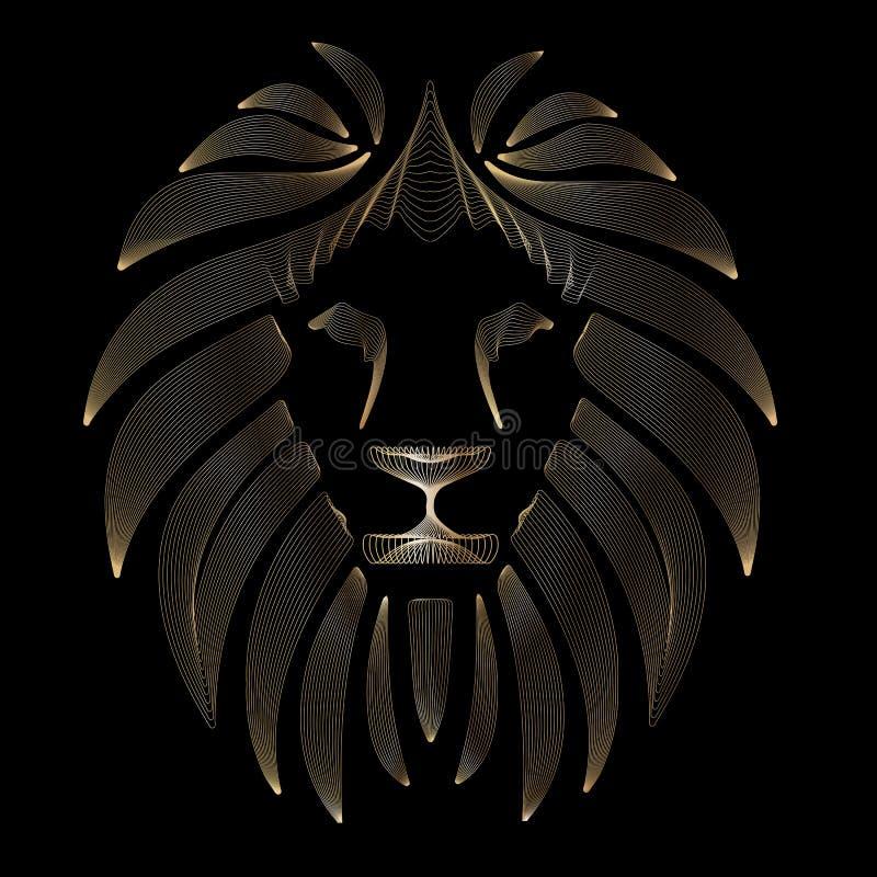 Le?n estilizado linear Negro y gráfico del oro El ejemplo del vector se puede utilizar como diseño para el tatuaje, camiseta, bol ilustración del vector