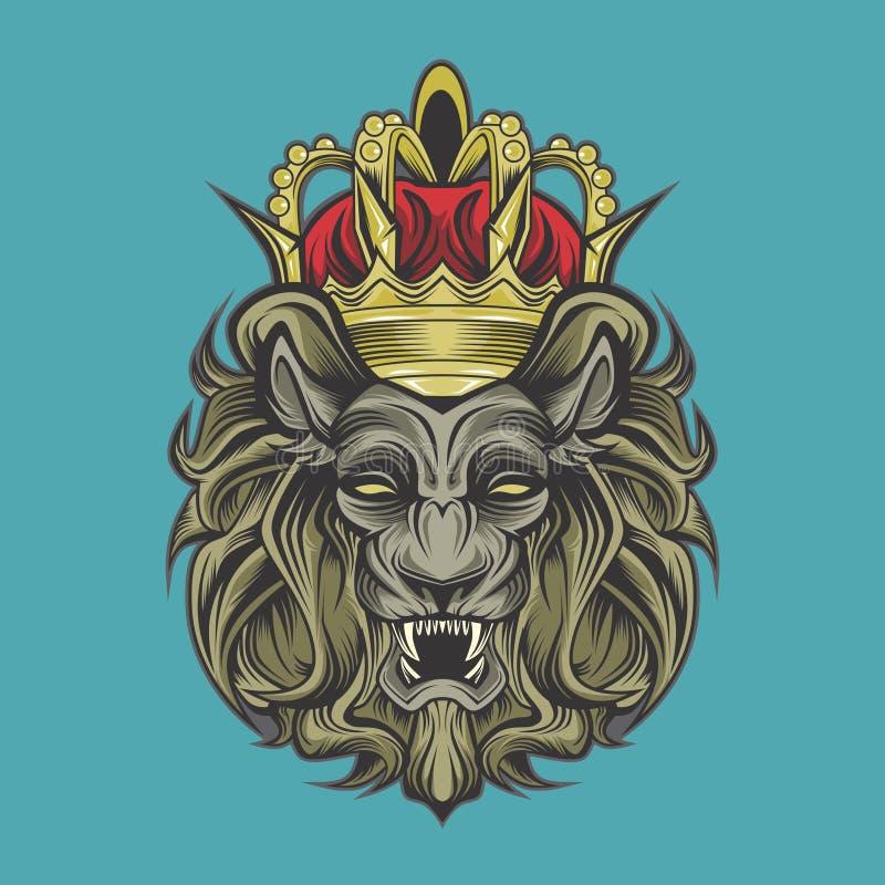 Le?n y corona stock de ilustración