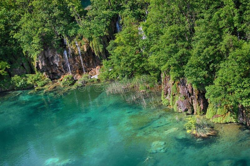 Le Na de belle vue l'eau d'espace libre de turquoise du lac Plitvice photo stock