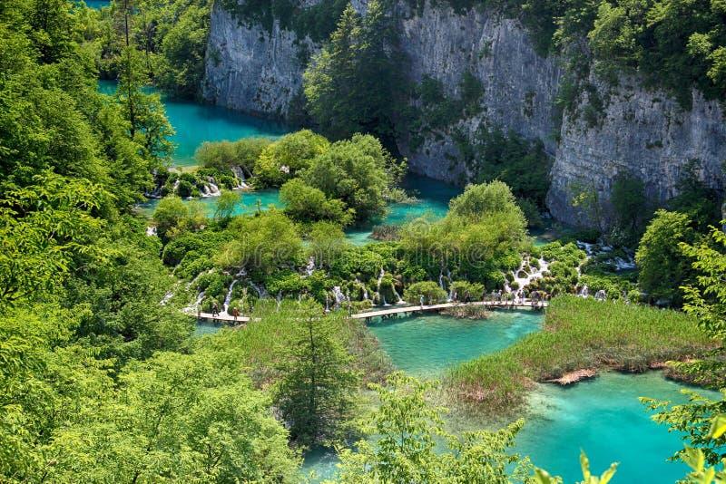 Le Na de belle vue l'eau d'espace libre de turquoise du lac Plitvice image stock