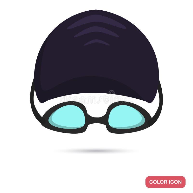 Le nageur de sport eu et les verres colorent l'icône plate pour le Web et la conception mobile illustration libre de droits
