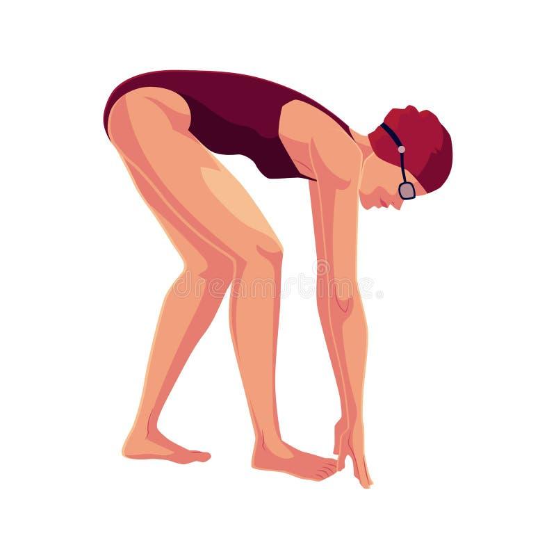 Le nageur féminin en position de départ, prête plongent et nagent illustration libre de droits