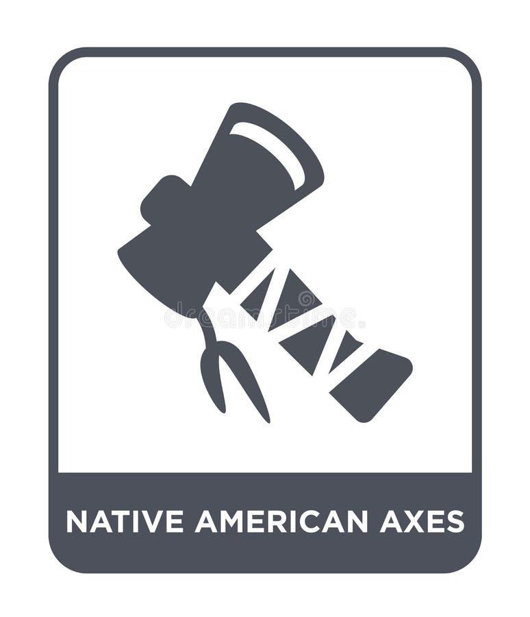 le natif américain diminue l'icône dans le style à la mode de conception icône de haches de natif américain d'isolement sur le fo illustration stock