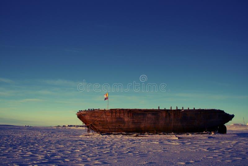 Le naufrage demeure du Maud, baie Nunavut de Cambridge photo stock