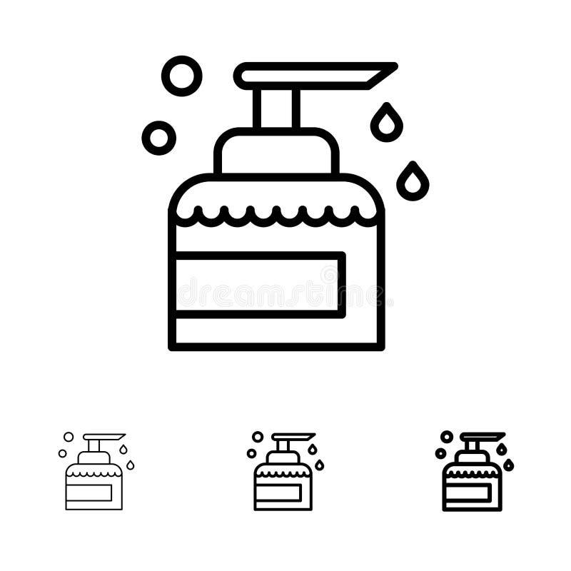 Le nettoyage, Chambre, gardant, produit, pulvérisent la ligne noire audacieuse et mince ensemble d'icône illustration libre de droits