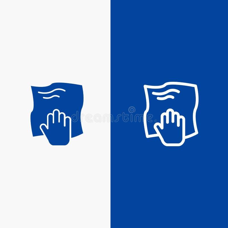Le nettoyage, main, les travaux domestiques, bande de frottement, bannière bleue de bannière frottent de ligne et de Glyph icône  illustration libre de droits